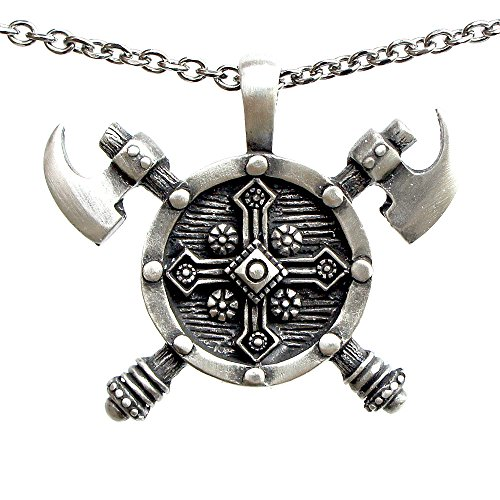 Viking Double edged Battle Axe Ax Pewter Pendant Stainless Steel Chain Necklace