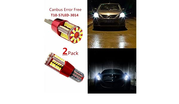 Amazon.com: 2pcs Canbus Error Free T10 194 168 57SMD 3014 LED Interior Light Bulbs Car Wedge License Plate Position Lights: Automotive