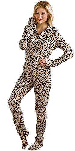 PajamaGram Women 's Hoodie-Footie Leopard Print Fleece Onesie Pajamas Multicolored Medium (8-10) (Adult Cheetah Costume)