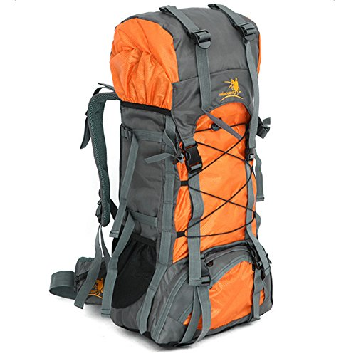 55L Internal Frame Backpack Hiking Backpacking Packs Large Capacity for Outdoor Hiking Travel Climbing Camping Mountaineering (Orange)