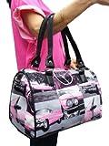 US HANDMADE PINK CADILLAC CAR ROCKABILLY RETRO Pattern Doctor Bag Satchel Style Handbag Purse , DRB 3126