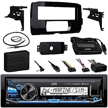 Amplifier JVC KDR690S CD Receiver Bundle//2 Kicker 6.5 Speaker Enrock Antenna Motorcycle Speaker Adapters Handle Bar Conrol for 98-2013 Harley Davidson Dash Kit W//Radio Cover