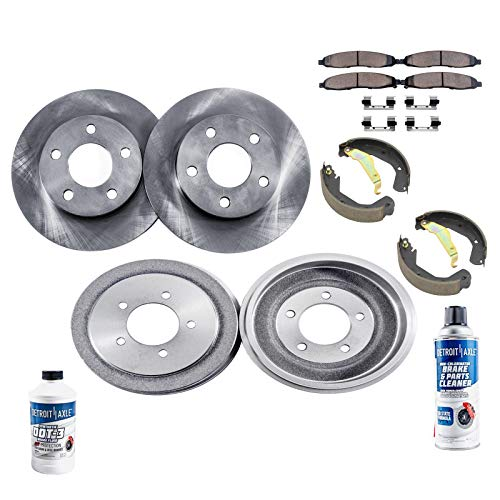 (Detroit Axle - All (4) Front Disc Brake Rotors and Rear Brake Drums w/Ceramic Pads and Shoes w/Hardware & Brake Cleaner & Fluid for 2002 2003 2004 2005 Toyota Celica)