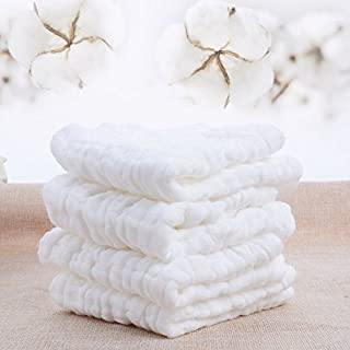 Baby Muslin Washcloths UOMNY Baby Cotton Face Towel 6 Layers for Newborn Natural Organic Cotton Wipes Soft Baby Sensitive Skin as Shower Gift 5 Pack 10x10inches
