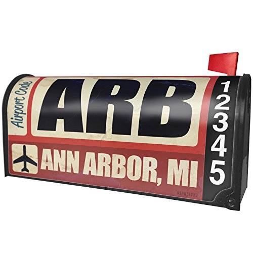 NEONBLOND Airportcode ARB Ann Arbor, MI Magnetic Mailbox Cover Custom Numbers