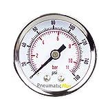 "PneumaticPlus PSB15-160CP Air Pressure Gauge for Air Compressor WOG Water Oil Gas Chrome Plated 1-1/2"" Dial Center Back Mount 1/8"" NPT 0-160"