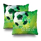 ONELZ Soccer Themed Square Decorative Throw Pillow Case, Fashion Style Zippered Cushion Pillow Cover (18X18 inch,Set of 2)