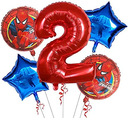 BAYUE Globos 5 Piezas Spiderman Foil Balloons 1 2 3 4 5st ...