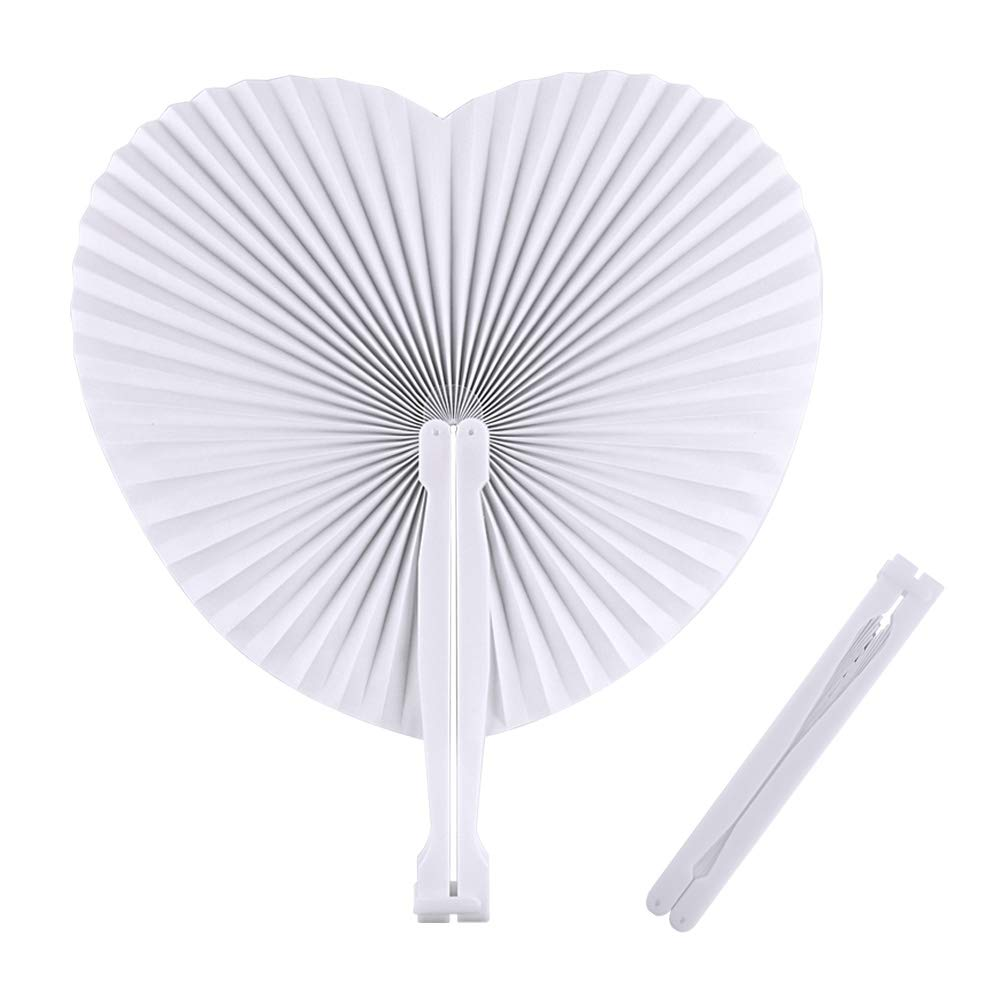 FEPITO 36 Pack Pocket Paper Fans White Wedding Fans Folding Paper Fans for Party Favor Communion Church Decoration(Heart Shape)