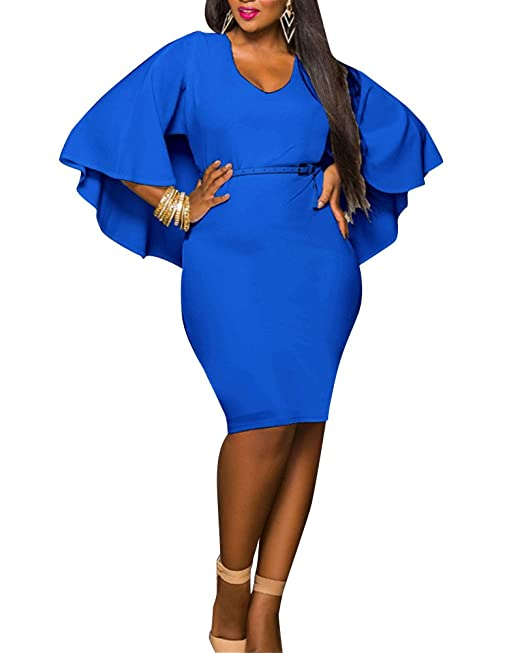 Mujeres Vestido Corto con Manga Larga Casual Slim Falda para Fiesta Vestidos Azul L