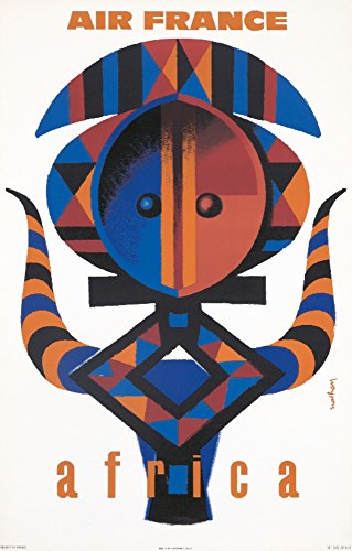 Air France - Africa Vintage Poster (artist: Nathan-Garamond) France c. 1963 (24x36 Giclee Gallery Print, Wall Decor Travel Poster)