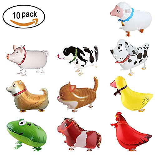 (SOTOGO 10 Pieces Walking Animal Balloons Farm Animal Balloon Birthday Party BBQ Party Décor(Pony,Duck,Rooster,Cow,Pig,Sheep,Spotted)