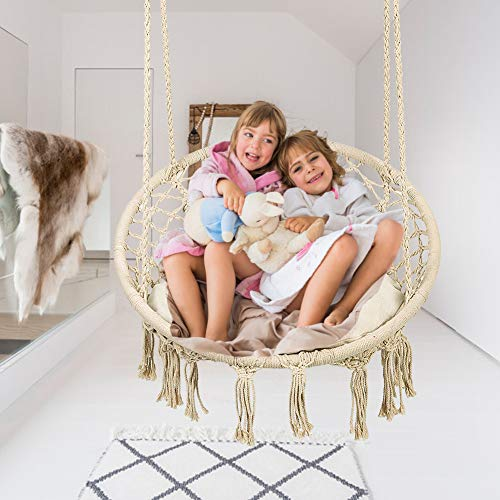 Greensen Hanging Swing Hammock Chair Set Macrame Design with Hanging Kit and Sitting Cushion for Indoor Bedroom and Outdoor Patio, DIY Family Fun Swings Chair for Kids and Adults, Support 250+ Lbs by Greensen (Image #5)