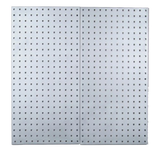 Triton Products LB18-S Two Stainless Steel LocBoard Square Hole Pegboards 18-Inch W by 36-Inch H by 1/2-Inch D with Wall Mounting Hardware by LocBoard