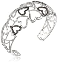 Sterling Silver Black Cubic Zirconia and Polished Hearts Cuff Bracelet by HNJ, Inc.