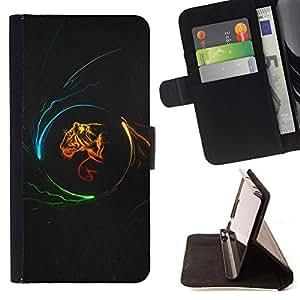 - FIRE BIG TIGER CAT PORTRAIT ART PROFILE NEON - - Prima caja de la PU billetera de cuero con ranuras para tarjetas, efectivo desmontable correa para l Funny HouseFOR Sony Xperia Z1 L39