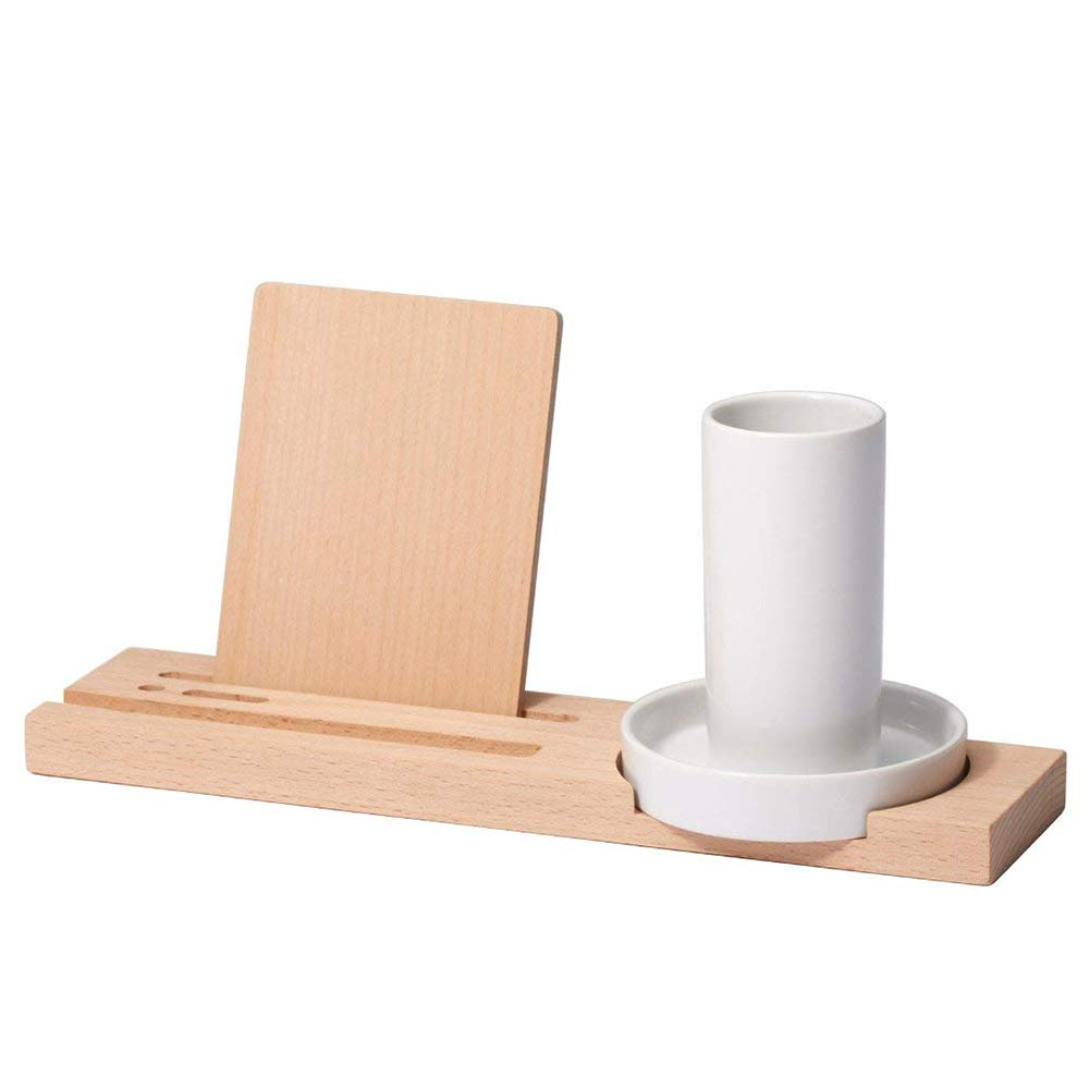 Ideaco Japan Designer Wooden Desk Organizer,Phone + Kindle + Pen Holder, Wood+White Ceramic