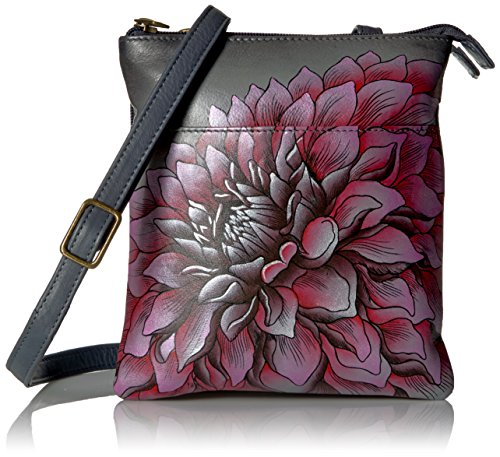 Hand Painted Anuschka Rfid Triple Lock Compartment), Flower Design, Pink Drd-p-dreamy Pink Dahlias-