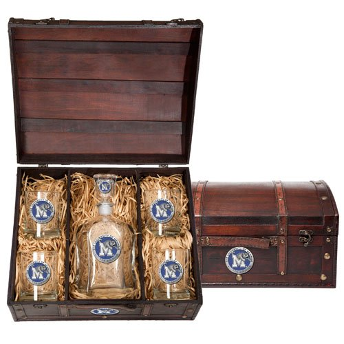 Memphis Tigers Capitol Decanter Wood Chest Set by Heritage Pewter