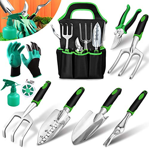 Garden Tools Set 10 Pieces, Gardening Kit Gifts with Heavy Duty Aluminum Hand Tool with Storage Organizer and Digging…