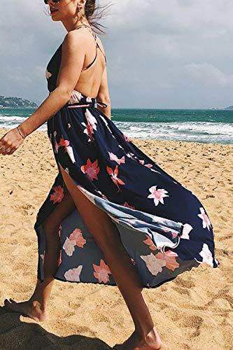 Descubierta Maxi Sopliagon Cuello Vestido Espalda Mujer 3 Espagueti Playa V Vestidos Hendidura C8TwCz