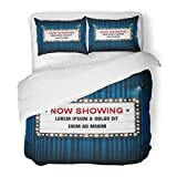 SanChic Duvet Cover Set Marquee Theater Cinema Sign Light Showing Now Movie Hollywood Decorative Bedding Set with 2 Pillow Shams King Size