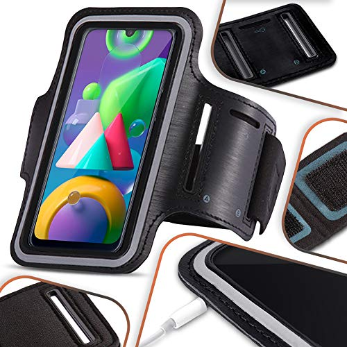 NAmobile Beschermhoes compatibel met Samsung Galaxy M21 mobiele telefoon hoesje zwart looptas joggen fitness case…
