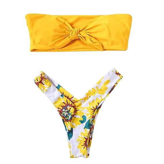 b45ac651599c Longra 🍀 💓 Traje de baño Casual en la Playa! Bikini de Dos Piezas ...