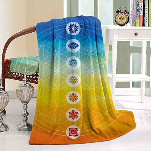 HAIXIA Blanket Gradient Toned Chakra Centers Spiritual Power Universe Harmony Religious Multicolor (Joseph Wool Flannel)