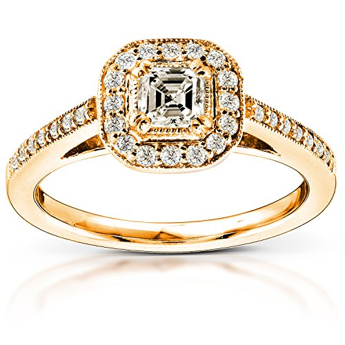 Asscher Cut Diamond Engagement Ring 1/2 Carat (ctw) in 14K Yellow Gold
