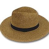 Sun Styles Pascal Men's Classic Panama Style Sun Hat, Coffee