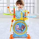 LIUFS-Drum Children's Drum Toy 3-6 Years Old Boys And Girls Beat Gifts External Headphones (color :...