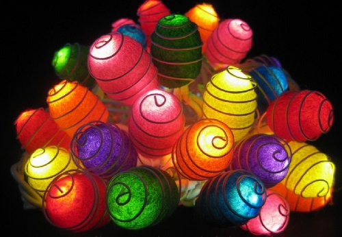 1 Set of 35 Natural Silk Cocoons Lights Set Lighting String Lamp Mixed Colors (Orange, Red, Yellow, White, Purple, Blue, Green) Home Decoration, Patio, Living Room, Yard & Garden Indoor and Outdoor of Birthday, Christmas, Wedding, New Year, Anniversary, Ceremony, Graduation Day, Valentine Party (Lamp White Silk Pendant)