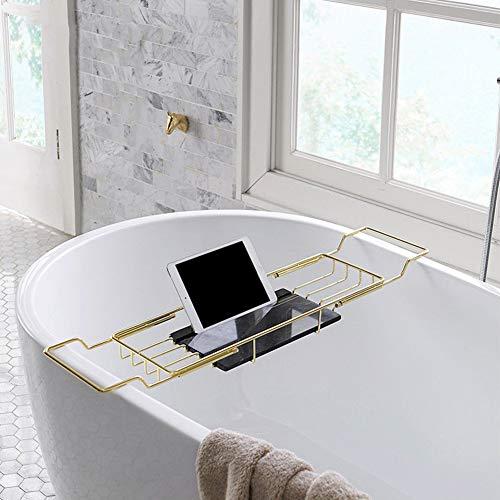 JIANGJIE Bañera Caddy Bandeja mármol 304 Acero Inoxidable-Sobre bañera Racks Ducha Organizador Impermeable Lectura Rack,...