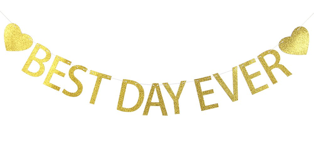 Lovely BITON Gold Best Day Ever Letters Banner Decoration Kit Themed Party Banner for Birthday Wedding Showers Photo Props Window Decor