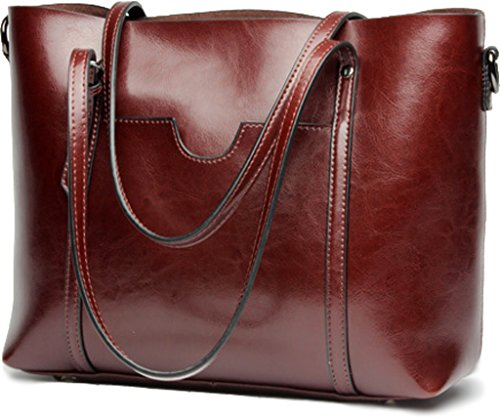 Image of Covelin Women's Handbag Genuine Leather Tote Shoulder Bags Large Capacity Wine red