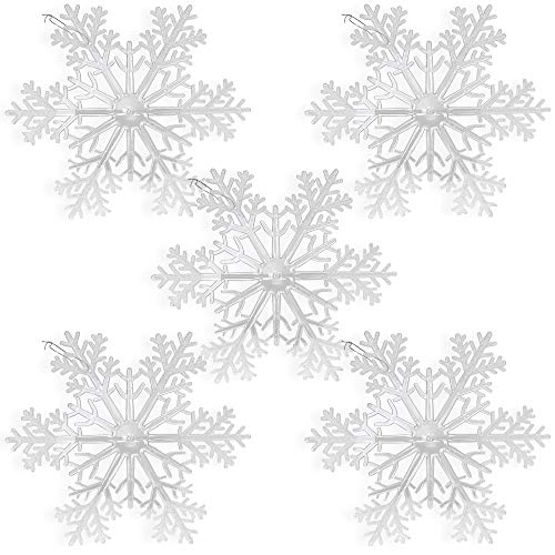 BANBERRY DESIGNS Large Snowflakes - Set of 5 Clear Acrylic Large Snowflakes Frosted Tips - Approximately 12