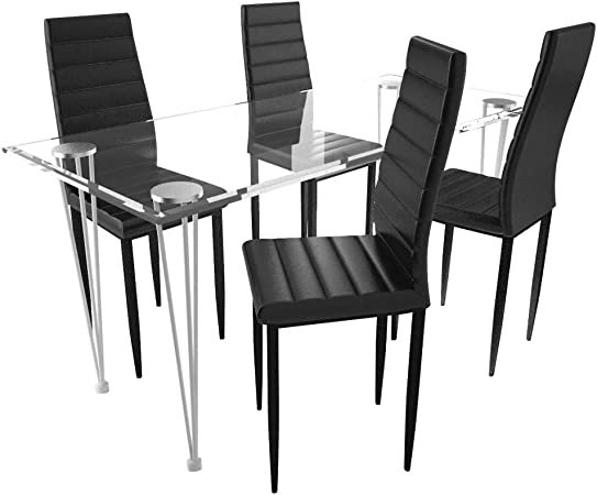 vidaXL Lot de 4 chaises Noires aux Lignes Fines avec Table en Verre Chaise de Cuisine