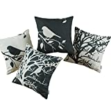 Set of 4 Euphoria CaliTime Throw Pillows Covers Vintage Birds Branches, 18 X 18 Inches, Black