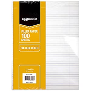 "AmazonBasics College Ruled Loose Leaf Filler Paper, 100-Sheet, 11"" x 8.5"", 36-Pack"