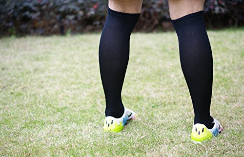 Review Athletic Over the Calf Compression Crew Socks for Mens and Boys – Black/Red/White (Black (6/Pack))