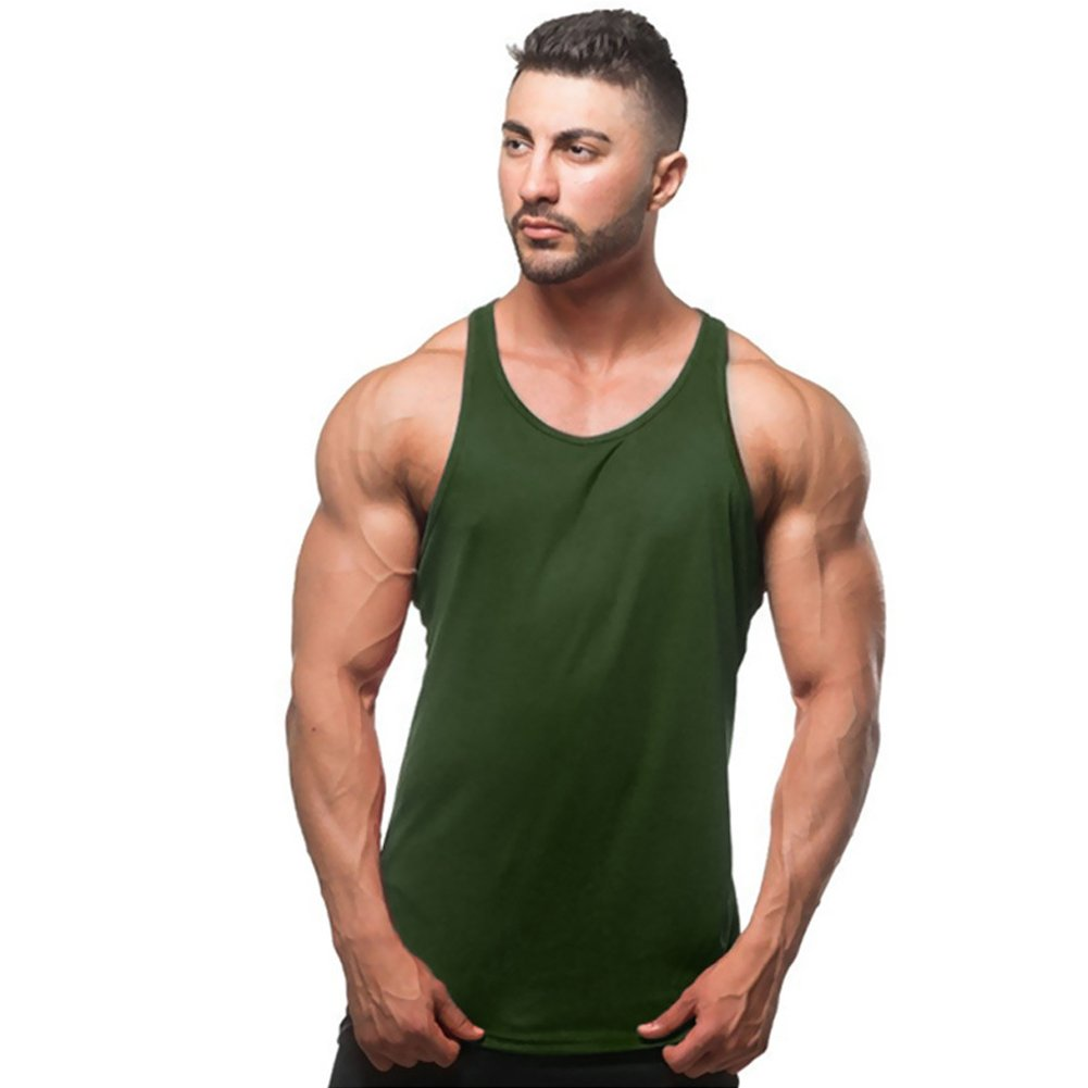 ZUEVI Men's Muscular Cut Open Sides Bodybuilding Tank Top(Army Green-2XL) MTAEE-2XL