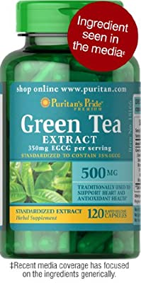 Puritan's Pride Green Tea Standardized Extract 500 mg-120 Capsules
