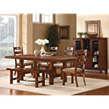 Clayton 6 PC Dining Table Set with Bench by Home Elegance in Dark Oak