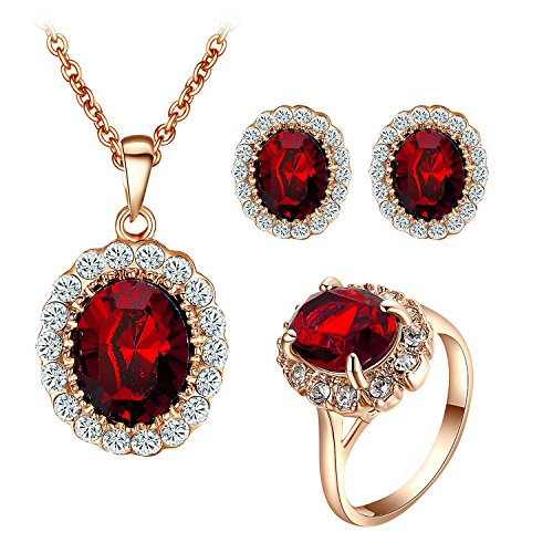 (Yoursfs Simulated Ruby Jewelry Set Rose GP Halo Rhinestones Necklace Earrings Ring)