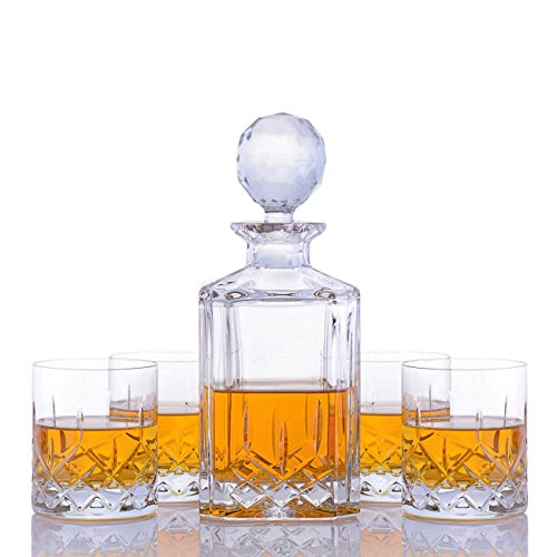 Crystalize Cut Crystal Whiskey Decanter and Glasses - 5 Piece Set by Crystalize