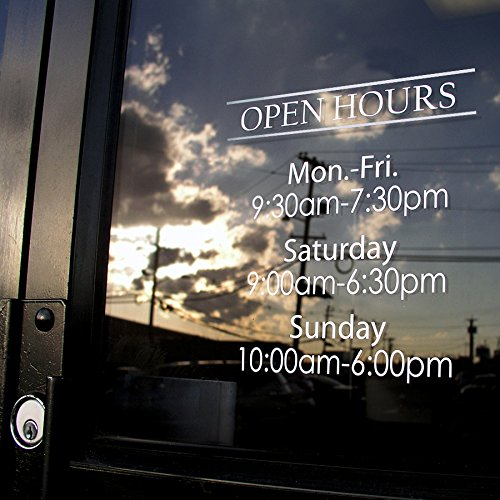 (Custom Business Hours Window Decal - Vinyl Custom Lettering, Glass Door Sign 10.5