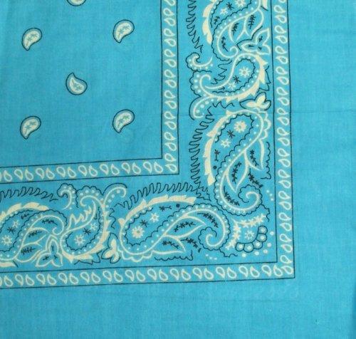 Bandanas by the Dozen (12 units per pack, 100% cotton) (Dozen-Turquoise Paisley)