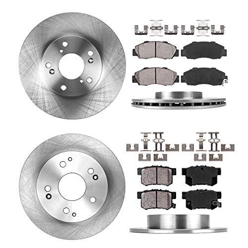 [ V6 ] FRONT 282 mm + REAR 259 mm Premium OE 5 Lug [4] Rotors + [8] Quiet Low Dust Ceramic Brake Pads + Clips