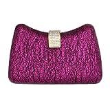 Damara Shinning Clutch Rhinestone Snap Front Womens Handle Bag Hardcase,Fuschia